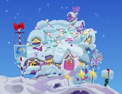 Size: 5833x4500   Tagged: safe, alternate version, anonymous artist, big macintosh, fluttershy, earth pony, pegasus, series:fm holidays, absurd resolution, bird house, christmas, christmas lights, christmas ornament, christmas wreath, decoration, equestrian flag, female, flag pole, fluttermac, fluttershy's cottage, hearth's warming, holiday, mailbox, male, night, shipping, silhouette, snow, straight, winter, wreath