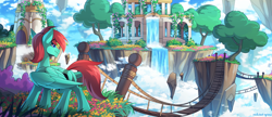 Size: 2500x1080 | Tagged: safe, artist:redchetgreen, oc, oc only, pegasus, pony, bridge, building, cloud, floating island, high res, male, pegasus oc, scenery, scenery porn, sky, smiling, solo, temple, tree, waterfall