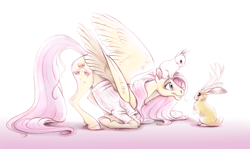 Size: 1577x942 | Tagged: safe, artist:deygira-blood, fluttershy, jackalope, pegasus, pony, rabbit, animal, butt fluff, clothes, cute, eye contact, face down ass up, female, fluffy, glare, grin, hoof fluff, kneeling, leg fluff, looking at each other, mare, realistic, shoulder fluff, shyabetes, simple background, smiling, spread wings, sweater, sweatershy, white background, wing fluff, wings