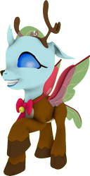 Size: 527x1032 | Tagged: safe, artist:rainofbladess, ocellus, changedling, changeling, deer, reindeer, 3d, animal costume, christmas, costume, female, grin, high res, holiday, looking at you, one hoof raised, raised hoof, reindeer costume, simple background, smiling, smiling at you, solo, source filmmaker, spread wings, transparent background, wings
