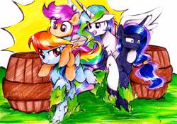 Size: 1069x748   Tagged: safe, artist:liaaqila, princess celestia, princess luna, rainbow dash, scootaloo, alicorn, pegasus, pony, barrel, competition, female, filly, ponies riding ponies, race, riding, royal sisters, scootaloo riding rainbow dash, scootalove, sisters, slime, traditional art