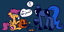 Size: 1280x636 | Tagged: safe, artist:/d/non, princess luna, scootaloo, alicorn, headless horse, pegasus, pony, :c, >:c, angry, blue background, candle, dialogue, duo, female, filly, frown, halloween, headless, holiday, hoof hold, jack-o-lantern, knife, luna module, mare, modular, nightmare night, pumpkin, pumpkin carving, simple background, speech bubble, sweat, sweatdrop