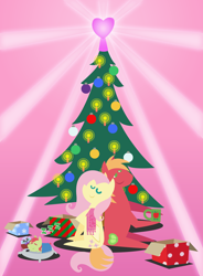 Size: 1800x2448 | Tagged: safe, anonymous artist, big macintosh, fluttershy, oc, oc:late riser, bird, earth pony, owl, pegasus, pony, series:fm holidays, series:hearth's warming advent calendar, advent calendar, baby, baby pony, blanket, christmas, christmas tree, clothes, coffee mug, colt, eyes closed, family, female, fluttermac, hearth's warming, holiday, intertwined tails, lineless, male, mug, offspring, onomatopoeia, parent:big macintosh, parent:fluttershy, parents:fluttermac, pillow, plushie, pointy ponies, present, scarf, shipping, sleeping, smiling, sound effects, straight, tail, tree, zzz