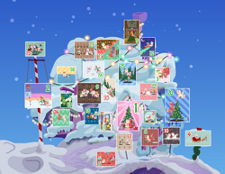 Size: 5833x4500 | Tagged: safe, anonymous artist, alice the reindeer, apple bloom, applejack, aurora the reindeer, berry punch, berryshine, big macintosh, bori the reindeer, discord, fluttershy, pinkie pie, rarity, toe-tapper, torch song, oc, oc:late riser, bird, deer, draconequus, earth pony, owl, pegasus, pony, reindeer, unicorn, series:fm holidays, series:hearth's warming advent calendar, abstract background, absurd resolution, advent calendar, alcohol, apple, aunt and nephew, baby, baby bottle, baby pony, bell, bipedal, bipedal leaning, bird house, blanket, blush sticker, blushing, book, boop, boots, broom, button eyes, candle, candy, candy cane, caroling, carrot, cartoon physics, chocolate, christmas, christmas lights, christmas ornament, christmas stocking, christmas sweater, christmas tree, christmas wreath, close-up, clothes, coal, coat, coffee mug, colt, cookie, cozy, crescent moon, cuddling, cup, cute, decoration, disembodied hand, doll, dress, drink, drinking, drool, drunk, drunk bubbles, drunkershy, duster, earmuffs, eggnog, embarrassed, equestrian flag, eyes closed, facing away, family, feather, female, figure skating, fire, fireplace, fishing rod, flag pole, fluttermac, fluttermom, fluttershy's cottage, flying, food, gingerbread (food), gingerbread pony, glowing horn, green background, hand, happy, hat, hat off, heart, hearth's warming, hearth's warming doll, hearth's warming eve, hearth's warming tree, hidden eyes, high res, holding a pony, holiday, holly, hood, hoof hold, hoof on chin, hoof sucking, horn, hot chocolate, ice, ice skates, ice skating, imminent kissing, in which pinkie pie forgets how to gravity, kissu, ladder, leaf, leaning, levitation, lineless, looking at each other, looking at you, looking away, looking up, lying down, macabetes, magic, mailbox, male, mare, marshmallow, mistletoe, mittens, moon, mother and child, mother and son, mug, music notes, night, noseboop, now kiss, offscreen character, offspring, one eye closed, onomatopoeia