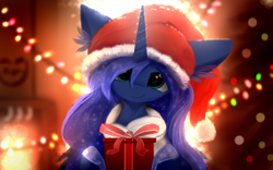 Size: 2560x1600 | Tagged: safe, artist:ssnerdy, princess luna, alicorn, pony, christmas, christmas gift, christmas lights, christmas tree, cute, female, hat, holiday, looking at you, lunabetes, mare, present, santa hat, smiling, solo, tree