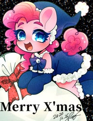 Size: 1378x1791   Tagged: safe, artist:bbtasu, pinkie pie, semi-anthro, black background, christmas, christmas stocking, clothes, costume, cute, diapinkes, female, hat, holiday, no nose, open mouth, sack, santa costume, santa hat, simple background, snow, snowfall, solo, thick eyebrows