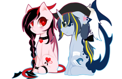 Size: 3032x1978 | Tagged: safe, artist:riariirii2, oc, oc only, bat pony, pony, unicorn, bat pony oc, bat wings, bow, braid, collar, duo, eyelashes, hair bow, hat, horn, pirate hat, simple background, smiling, transparent background, unicorn oc, wings