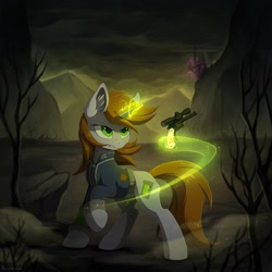 Size: 1920x1920 | Tagged: safe, artist:hioshiru, oc, oc only, oc:littlepip, pony, unicorn, fallout equestria, canterlot, cheek fluff, clothes, cover art, cutie mark, ear fluff, fanfic, fanfic art, female, floppy ears, glowing horn, gun, handgun, hooves, horn, leg fluff, levitation, little macintosh, magic, mare, optical sight, pink cloud (fo:e), pipbuck, revolver, shirt, solo, telekinesis, vault suit, wasteland, weapon