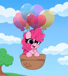 Size: 3678x4096   Tagged: safe, artist:kittyrosie, pinkie pie, earth pony, pony, balloon, basket, blushing, chest fluff, cloud, cute, diapinkes, digital art, female, floating, happy, high res, mare, open mouth, sky, smiling, solo, then watch her balloons lift her up to the sky, tree, weapons-grade cute