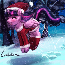 Size: 750x750 | Tagged: safe, artist:lumineko, twilight sparkle, alicorn, pony, christmas, clothes, costume, cute, digital art, eyes closed, female, folded wings, happy, hat, hearth's warming eve, holiday, hopping, lumineko is trying to murder us, mare, open mouth, pronking, santa costume, santa hat, signature, smiling, snow, snowfall, solo, tree, twiabetes, twilight sparkle (alicorn), wings