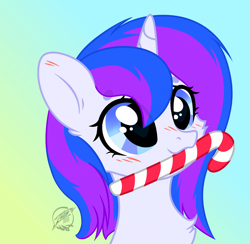 Size: 1920x1872 | Tagged: safe, artist:108-zeroforce, artist:lazuli0209, oc, oc only, oc:starglow twinkle, unicorn, base used, candy, candy cane, commission, cute, female, food, heart, heart eyes, mare, simple background, solo, wingding eyes, ych result, your character here
