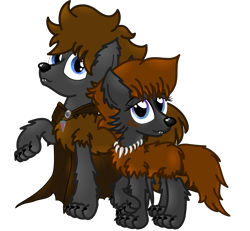 Size: 3000x2771 | Tagged: artist needed, safe, oc, oc only, oc:cherokee winchester, oc:coco winchester, hybrid, pony, wolf, wolf pony, 2021 community collab, derpibooru community collaboration, high res, simple background, transparent background