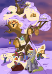 Size: 2480x3508 | Tagged: safe, artist:ardilya, derpy hooves, pegasus, christmas, christmas lights, colourful, digital art, golden oaks library, holiday, snow, solo, winter