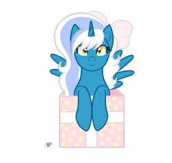 Size: 1600x1510 | Tagged: safe, artist:princessmoonsilver, oc, oc:fleurbelle, alicorn, pony, alicorn oc, bow, box, female, gift art, hair bow, horn, looking at you, mare, pony in a box, present, ribbon, simple background, transparent background, wings, yellow eyes