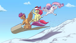 Size: 1600x914 | Tagged: safe, artist:baron engel, apple bloom, scootaloo, sweetie belle, earth pony, pegasus, pony, unicorn, cutie mark crusaders, digital art, eyes closed, female, filly, gritted teeth, open mouth, sled, sledding, snow, spread wings, this will end in tree sap, wings