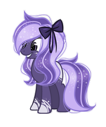 Size: 1911x2296 | Tagged: safe, artist:riariirii2, oc, oc only, earth pony, pony, base used, bow, earth pony oc, ethereal mane, female, grin, grni, hair bow, mare, simple background, smiling, solo, starry mane, transparent background