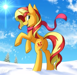 Size: 3200x3100 | Tagged: safe, artist:kaylerustone, sunset shimmer, pony, unicorn, butt, clothes, dock, female, horses doing horse things, looking at you, mare, open mouth, plot, rearing, scarf, side view, smiling, snow, solo, sun, underhoof, winter