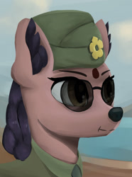 Size: 1280x1724   Tagged: safe, artist:monx94, oc, oc only, deer, equestria at war mod, bust, ear fluff, indian, simple background, soldier, solo, sunglasses