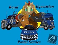 Size: 1017x786 | Tagged: artist needed, safe, oc, oc only, oc:cherokee winchester, oc:joescoutk9, oc:tribal typhoon, hybrid, kirin, wolf, wolf pony, american truck simulator, baseball cap, cap, car, euro truck simulator 2, hat, truck