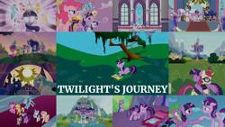 Size: 1990x1119   Tagged: safe, edit, edited screencap, editor:quoterific, screencap, amethyst star, applejack, fluttershy, linky, moondancer, pinkie pie, princess celestia, princess luna, rainbow dash, rarity, shoeshine, sparkler, spike, starlight glimmer, twilight sparkle, alicorn, unicorn, amending fences, celestial advice, friendship is magic, magical mystery cure, school daze, season 1, season 2, season 3, season 4, season 5, season 7, season 8, season 9, the beginning of the end, the crystal empire, the cutie re-mark, the last problem, the return of harmony, the summer sun setback, twilight's kingdom, spoiler:s08, spoiler:s09, big crown thingy, book, bookhorse, clothes, coronation dress, crown, dress, element of magic, gigachad spike, glasses, jewelry, mane seven, mane six, mountain, older, older applejack, older fluttershy, older pinkie pie, older rainbow dash, older rarity, older spike, older twilight, peytral, princess twilight 2.0, regalia, school of friendship, spread wings, that pony sure does love books, tree, twilight sparkle (alicorn), twilight's castle, unicorn twilight, waterfall, wings