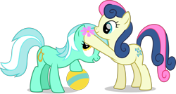 Size: 8512x4580 | Tagged: safe, artist:thatusualguy06, bon bon, lyra heartstrings, sweetie drops, earth pony, pony, unicorn, party pooped, .svg available, absurd resolution, adorabon, ball, cute, duo, female, flower, flower in hair, lyrabetes, mare, show accurate, simple background, svg, transparent background, vector