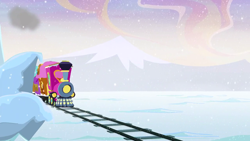 Size: 1280x720   Tagged: safe, screencap, hearthbreakers, background, friendship express, no pony, scenic ponyville, snow, snowfall, train, train tracks, winter