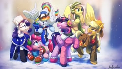 Size: 2560x1440   Tagged: safe, artist:anticular, applejack, fluttershy, pinkie pie, rainbow dash, rarity, twilight sparkle, alicorn, earth pony, pegasus, pony, unicorn, clothes, earmuffs, flying, goggles, hat, jacket, mane six, one eye closed, open mouth, outfit, raised hoof, scarf, smiling, snow, sweater, twilight sparkle (alicorn), wink, winter, winter outfit