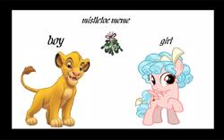 Size: 900x562 | Tagged: safe, artist:arvin-sweetiepupfan, cozy glow, meme, mistletoe, simba