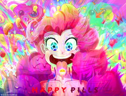 Size: 1860x1420 | Tagged: safe, artist:the-butch-x, gummy, pinkie pie, equestria girls, breasts, cleavage, cute, diapinkes, drugs, female, open mouth, psychedelic, solo, starry eyes, tongue out, uvula, wingding eyes