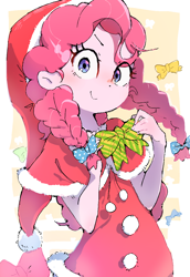 Size: 880x1280 | Tagged: safe, artist:nendo, pinkie pie, equestria girls, alternate hairstyle, bow, braided pigtails, christmas, clothes, costume, cute, diapinkes, hair bow, hat, holiday, ribbon, santa costume, santa hat, solo