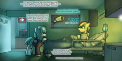 Size: 1280x640 | Tagged: safe, artist:captainhoers, oc, oc only, oc:concorde, oc:rainbow code, pegasus, the sunjackers, bed, cyberpunk, duo focus, hospital, hospital bed, male, nonbinary, offspring, older, parent:soarin', parent:spitfire, parents:soarinfire, stallion