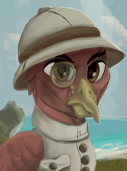 Size: 1280x1724   Tagged: safe, artist:monx94, oc, oc only, griffon, equestria at war mod, angry, bust, button-up shirt, colonizer, dutch, eyebrows, hat, monocle, old, portrait, simple background, solo