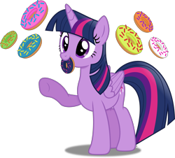 Size: 4488x4049 | Tagged: safe, artist:anime-equestria, twilight sparkle, alicorn, cute, donut, female, food, horn, mare, mouth hold, simple background, solo, transparent background, twilight sparkle (alicorn), vector, wings