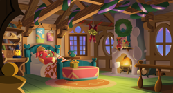 Size: 3000x1620 | Tagged: safe, anonymous artist, big macintosh, fluttershy, oc, oc:late riser, earth pony, pegasus, pony, series:fm holidays, baby, baby pony, bed, bedroom, bell, christmas, christmas lights, christmas wreath, colt, family, female, fire, fire light, fireplace, fluttermac, fluttershy's cottage, garland, hearth's warming, hearth's warming doll, holiday, lying down, lying on bed, male, mare, night, offspring, on back, on bed, parent:big macintosh, parent:fluttershy, parents:fluttermac, present, ribbon, shipping, sleeping, stallion, straight, wreath
