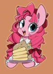 Size: 1084x1494 | Tagged: safe, artist:potetecyu_to, pinkie pie, anthro, semi-anthro, alternate hairstyle, arm hooves, beret, breasts, brown background, bust, clothes, cute, cutie mark, cutie mark on clothes, diapinkes, female, food, hat, open mouth, pancakes, plate, simple background, solo, sweater vest