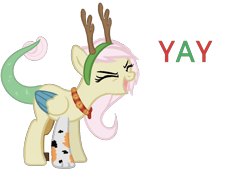Size: 1274x889 | Tagged: safe, artist:millerrachel, oc, oc:fate, hybrid, animal costume, christmas, costume, eyes closed, happy, holiday, interspecies offspring, offspring, parent:discord, parent:fluttershy, parents:discoshy, reindeer costume, solo, yay