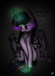 Size: 840x1156 | Tagged: safe, artist:starsketchmeh, twilight sparkle, alicorn, pony, corrupted twilight sparkle, dark magic, glowing horn, gray background, horn, letter, magic, photo, redraw, scroll, simple background, solo, sombra eyes, twilight sparkle (alicorn)