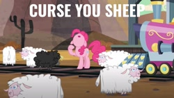 Size: 1920x1080 | Tagged: safe, edit, edited screencap, screencap, pinkie pie, pony, sheep, party pooped, quote, solo, train