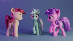 Size: 5760x3240 | Tagged: safe, artist:therealdjthed, amethyst star, lyra heartstrings, roseluck, sparkler, earth pony, pony, unicorn, 3d, blender, eyes closed, female, horn, mare, open mouth, palette swap, raised hoof, recolor, render, shocked, trio, trio female