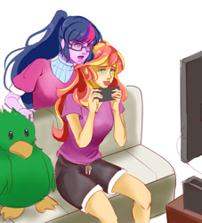 Size: 1000x1100   Tagged: safe, artist:reinver, sci-twi, sunset shimmer, twilight sparkle, bird, parakeet, equestria girls, cookie, female, food, lesbian, mouth hold, open mouth, playing, plushie, scitwishimmer, shipping, sunsetsparkle