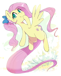 Size: 2270x2822 | Tagged: safe, artist:nendo, fluttershy, pegasus, pony, bow, cute, female, flying, hair bow, hoof on chin, looking at you, mare, ribbon, shyabetes, smiling, solo, spread wings, wings