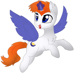 Size: 2557x2511 | Tagged: safe, artist:fierymoonlight, oc, oc only, oc:fiery moonlight, pony, unicorn, 2021 community collab, derpibooru community collaboration, absurd resolution, flying, magic, male, simple background, solo, stallion, transparent background, wings