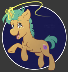 Size: 697x739 | Tagged: safe, artist:haretrinity, snails, pony, unicorn, abstract background, glowing horn, horn, male, open mouth, solo