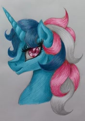 Size: 1125x1597 | Tagged: safe, artist:stormystica, fizzy, unicorn, bust, g1, portrait, profile, solo, traditional art