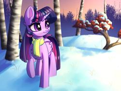 Size: 4000x3000 | Tagged: safe, artist:faline-art, twilight sparkle, alicorn, pony, clothes, high res, raised hoof, scarf, scenery, snow, solo, tree, twilight sparkle (alicorn), winter