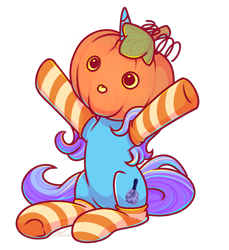 Size: 1833x2001 | Tagged: safe, artist:musicfirewind, oc, oc only, oc:untitled work, pony, :p, clothes, commission, cute, cutie mark, duster, female, horn, mare, pumpkin, simple background, sitting, socks, solo, striped socks, transparent background, ych result