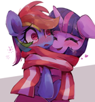Size: 1558x1674 | Tagged: safe, artist:lexiedraw, rainbow dash, twilight sparkle, pony, blushing, clothes, cute, eyes closed, female, floating heart, heart, lesbian, open mouth, scarf, shared clothing, shared scarf, shipping, smiling, swirly eyes, twidash