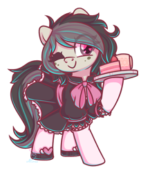 Size: 2150x2480 | Tagged: safe, artist:musicfirewind, oc, oc only, oc:polka dot, earth pony, pony, bow, cake, clothes, commission, cute, dress, earth pony oc, female, food, freckles, heart, heart eyes, maid, mare, ocbetes, one eye closed, raised hoof, shoes, simple background, smiling, socks, solo, transparent background, wingding eyes, wink, ych result