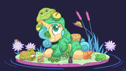 Size: 6000x3375 | Tagged: safe, artist:pirill, oc, oc only, oc:fidget, budgett's frog, frog, pony, unicorn, absurd resolution, animal, blue background, clothes, colored pupils, costume, digital art, eyebrows, eyepatch, female, flower, grass, hair, hoodie, horn, kigurumi, lily (flower), lilypad, looking up, mane, mare, onesie, outfit, pastel, reed, ripples, signature, simple background, sitting, smiling, solo, tail, three quarter view, vector, water