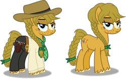 Size: 6543x4085 | Tagged: safe, artist:vector-brony, earth pony, pony, bandana, bandolier, belt, braid, braided tail, bullet, clothes, cowboy, cowboy hat, cowgirl, crossover, female, freckles, gun, gun holster, handgun, hat, holster, mare, markings, pants, ponified, red dead redemption, red dead redemption 2, revolver, sadie adler, shirt, simple background, solo, stetson, transparent background, unamused, unshorn fetlocks, vector, weapon